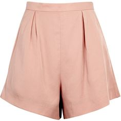 Finders Keepers Aster Blush High-waisted Shorts - Size M ($120) ❤ liked on Polyvore featuring shorts, high waisted shorts, high-rise shorts, pleated shorts, high rise shorts and high-waisted shorts