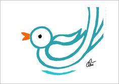 JACQUELINE DITT -  Cyan Bird A3 limitiert handsigniert Grafik Vogel Bild Kunst
