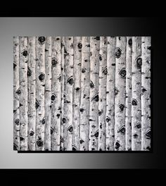 Original Black and White Birch Trees Painting, Abstract Art, Modern Landscape, Textured Aspen Trees Artwork, Unique Home Decor by ZarasShop on Etsy