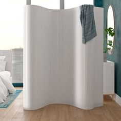 Staley 1 Panel Room Divider Bay Isle Home Colour: White 4 Panel Room Divider, Room Divider Curtain, Room Dividers, Isle Of Man, Mystery Room, Marble Room, Partition Design, Bamboo Wall, Dressing Area
