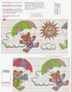 Cross Stitch Needles, Cross Stitch Baby, Cross Stitch Embroidery, Bear Crafts, Animal Crackers, Knitting Stitches, Needlework, Kids Rugs, Children