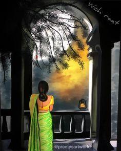 Indian Women Painting, Indian Art Paintings, Cool Art Drawings, Art Drawings Sketches, Krishna, Bengali Art, Art Painting Gallery, Sketch Painting, Digital Art Girl