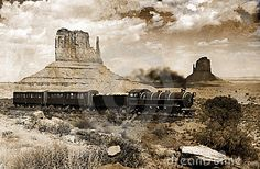 An old vapor train crossing Monument valley, in Utah.Image on a grunge background in view to give it an old and nostalgic aspect.