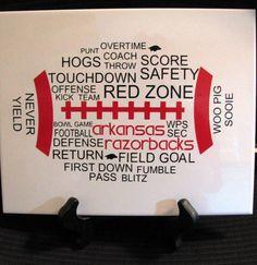REBELS????? Idea for lockers, could put the boys #, last name...position, etc...?!?!  Arkansas Razorbacks Football Word Art Tile Sign