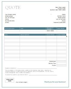Download A Simple Price Quote Template For Excel Easily Create - Invoices templates word for service business