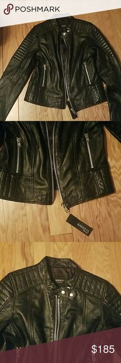 Barneys leather jacket Brand new with tags. Barney's Originals Asymmetric Leather Biker Jacket With Quilted Shoulder Detail. Lightweight. Soft smoothe leather. US Size 10.  100% authentic. Barneys New York CO-OP Jackets & Coats