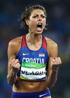 Blanka Vlasic of Croatia reacts during the Women's High Jump Final on Day 15 of the Rio 2016 Olympic Games at the Olympic Stadium on August 20, 2016 in Rio de Janeiro, Brazil.