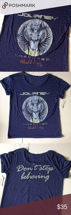 f99d5a89255 NWT Journey Vintage Concert Tee Made to look like a vintage concert tee.  Marked small but would work for women s medium.