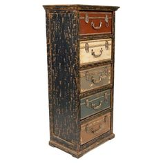 Refurbish an old chest of drawers and make it look like this Voyage Chest - the drawers look like vintage suitcases.