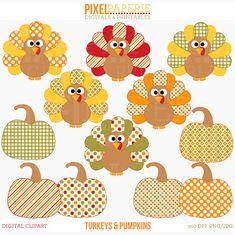 thanksgiving clipart turkey pumpkin fall Turkeys by PaperiePixel