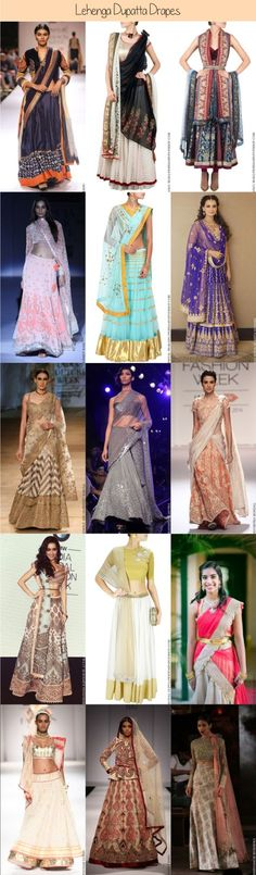 Dupatta style drapes ranging from the basic, to trendy to bridal dupatta drapes! There is a style for everyone and every lehenga style. Indian Attire, Indian Wear, Ethnic Fashion, Indian Fashion, Indian Dresses, Indian Outfits, Lehenga Dupatta, Anarkali Suits, Lehenga Style
