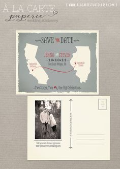 Two States, Two Hearts, One Big Celebration Save the Date Postcard on Etsy, $20.00