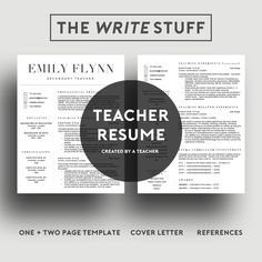 Page Teacher Resume Template For Word Includes Cover Letter