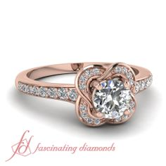 Round Cut Diamonds 14K Rose Gold Halo Engagement Ring In Pave Setting || Accented Clover Ring