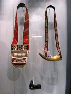 Top right: 1880 Tahltan (First Nations) Powder horn at the National Museum of the American Indian, New York location