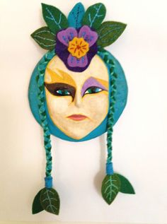 """""""Violetta"""" -  by artist Ulla Anobile - Paper mache, acrylics, felt, embroidery floss, 9"""" tall - SOLD"""