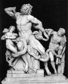 Greek and Hellenistic b.) - Laocoon, Hellenistic Greek sculpture of Athandoros, Hegesandros & Polydoros. Housed in the Uffizi Gallery, Florence, Italy