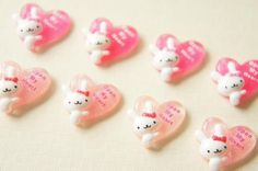 8 pcs Small Heart with White Bunny Cabochon (18mm) DR068 (((LAST))) on Etsy, £2.43