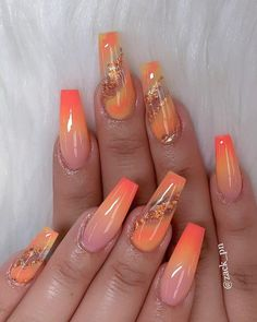 Try some of these designs and give your nails a quick makeover, gallery of unique nail art designs for any season. The best images and creative ideas for your nails. Best Acrylic Nails, Acrylic Nail Designs, Nail Art Designs, Orange Acrylic Nails, Orange Nail Designs, Acrylic Summer Nails Coffin, Bright Summer Acrylic Nails, Dope Nails, My Nails