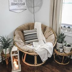 Papasan Chair Frame with Cushion Bedroom Chair, Room Ideas Bedroom, Bedroom Decor, Boho Living Room, Living Room Chairs, Living Room Decor, Dining Chair, Papasan Chair, Papasan Cushion