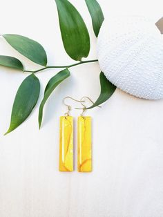 Yellow Rectangle Alcohol Ink Earrings - Hand Crafted - Goldr Plated - Modern - Geometric - Statement Earrings - Jenn Robertson Art Alcohol Ink Jewelry, Statement Earrings, Drop Earrings, Dangles, Plating, Hand Painted, Colours, Yellow, Modern