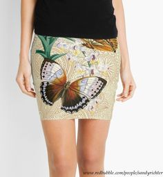 Sexy Miniskirt featuring Boho Style 'Vintage Butterflies' design by Sandy Richter available at Red Bubble