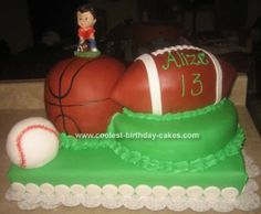 Homemade Sports Birthday Cake: My grandson Alize' requested a cake for his birthday that would have a football, basketball and a baseball on it as he plays all three sports and he wanted