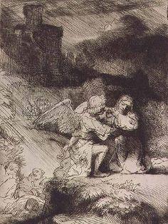 The Agony of Christ in the garden.  Rembrandt van Rijn.