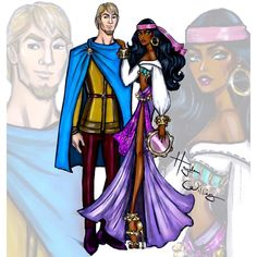 Esméralda & Captain Phoebus (Fashion by HaydenWilliamsIllustrations @Facebook) #TheHunchbackOfNotreDame