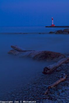 Oakville Lighthouse & Shoreline in the evening light with a 30 second exposure