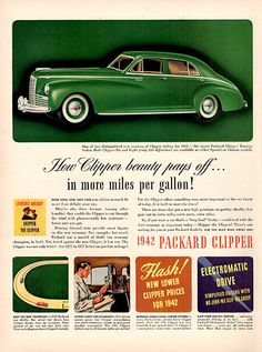 1941 Packard Clipper Original Car Print Ad