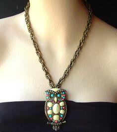 Vintage owl necklace pendant-$72 on etsy.