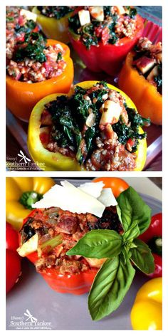 Stuffed Peppers with Sausage and Kale from Sassy Southern Yankee (Gluten Free, Low Carb and Whole 30 Approved)