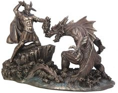 Perseus Battling Ketos Dragon Figurine Statue from the Greek and Roman Reproduction Art Sculpture Collection available at AllSculptures.com