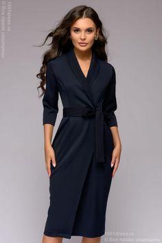 Платье-футляр темно-синее длины миди с запахом и рукавами 3/4 1001DRESS Classy Work Outfits, Chic Outfits, Dress Outfits, Fashion Dresses, Trendy Dresses, Blue Dresses, Vintage Dresses, Casual Dresses, Business Dresses