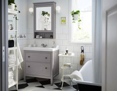 Give your bathroom a traditional look and space for all you need to store with the IKEA HEMNES bathroom series. Mirror cabinets, shelf units, and sink cabinets help you organize your bathroom, no matter what size it is. Hemnes, Easy Bathroom Updates, Simple Bathroom, White Bathroom, Bathroom Furniture, Bathroom Interior, Ikea Bathroom Vanity, Bathroom Table, Ikea Furniture