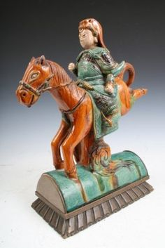 Chinese Horse Warrior Ceramic Roof Tile C. on LiveAuctioneers Ridge Tiles, Ceramic Roof Tiles, Roof Decoration, Zhou Dynasty, Summer Palace, Glazed Tiles, Vintage Tile, Terracota, Asian Decor