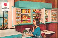 Fabulous retro wall fridge from the 1950s. I really wish these had taken off, would have saved a lot of time trying to clean under fridges.  http://www.retrorealtygroup.com #retrokitchen