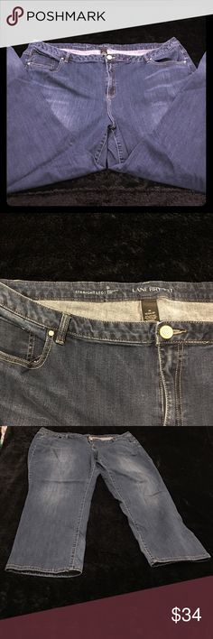 Lane Bryant Genius Fit straight Blue leg jean 28R Lane Bryant size 28 Regular Genius Fit straight leg jean Classic medium wash jean with 5-pocket style with Lycra;® dualFX technology for a fit that stays true to your shape and does not stretch out of shape. Button & zip fly closure with belt loops.  COTTON / SPANDEX  INSEAM: 31'' Lane Bryant Jeans Straight Leg