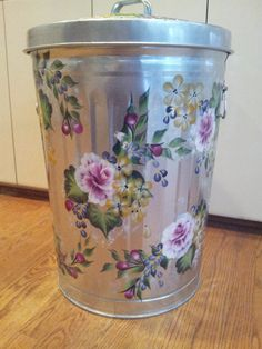 20 Gallon Hand Painted Galvanized Trash Can by krystasinthepointe on Etsy