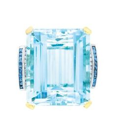I NEED THIS !!!!!!!!!!!!!!!!!   Gold, Platinum, Aquamarine, Sapphire and Diamond Ring  14 kt., one emerald-cut aquamarine ap. 48.00 cts., c. 1940