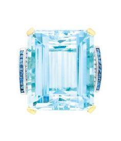 I NEED THIS !!!!!!!!!!!!!!!!!   Gold, Platinum, Aquamarine, Sapphire and Diamond Ring  14 kt., one emerald-cut aquamarine ap. 48.00 cts., c. 1940