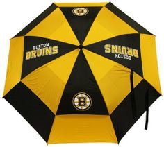 "NHL Boston Bruins Umbrella by Team Golf. $29.99. 62"" double-canopy umbrella with multi-colored panels and full color durable imprint. Includes an easy grip molded handle. Withstands strong winds."