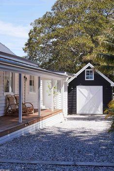 Home Renovation Exterior Inside NSW's Soul of Gerringong - Get In My Home Beach House Tour, Beach House Deck, Weatherboard House, Queenslander, Fresco, Garage Door Design, Garage Doors, Beach Shack, Modern Landscaping