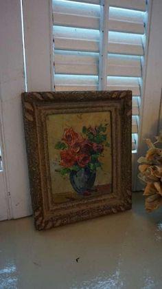 brocant bloemenschilderijtje