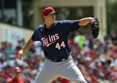 Mar 19, 2014; Jupiter, FL, USA; Minnesota Twins starting pitcher Kyle Gibson (44) throws against the St. Louis Cardinals during a game at Roger Dean Stadium. Mandatory Credit: Steve Mitchell-USA TODAY Sports