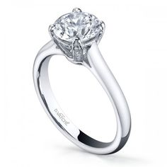 Designer collection Vatche 18K white Gold Solstice engagement ring solitaire setting 0.12ct with surprise diamonds in profile. Style # 280-IEJD under $2000