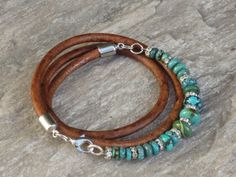 Boho Chic Genuine Turquoise Bead and Crystal Triple Leather Wrap Bracelet