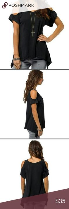 ?? Black Irregular Hem Cold Shoulder Blouse Short Sleeve Off Shoulder Casual Solid Tops T-shirt Blouse  White & Army Grewn coming soon! Boutique  Tops Tees - Short Sleeve
