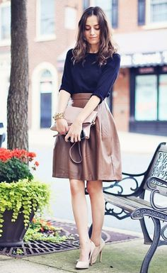 Forever 21 brown leather skirt via Classy and Fabulous